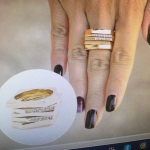 5 Gold Stack Rings -I LOVE GOLD RINGS SO CHIC